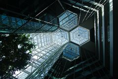 In A Glass Atrium. Looking up toward the ceiling in a glass atrium stock photo