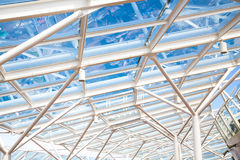 Glass Atrium Roof Supported by White Steel Stock Image