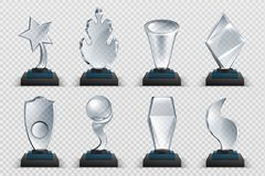 Free Glass Awards. Realistic Transparent Winner Trophy, Acrylic Stars Cups And Competition Prizes. Vector Isolated Fogged Stock Photo - 159151510