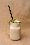 A glass of Ayran. Turkish traditional drink made of yoghurt and mint Stock Photo