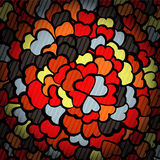 Glass background with dark mosaic hearts Royalty Free Stock Image