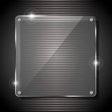 Glass background. Glowing glass panel on a dark gray background, illustration Royalty Free Stock Photography