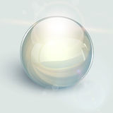 Glass ball  background. Transparent glass ball on background with lens flares, vector Royalty Free Stock Photo