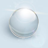 Glass ball  background. Transparent glass ball on background with lens flares, vector Stock Photos