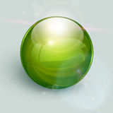 Glass ball  background. Green glass ball on background with lens flares, vector Royalty Free Stock Image