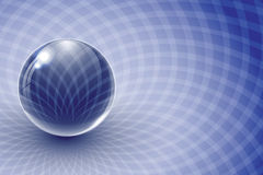 Glass ball on blue abstract background. Vector illustration Royalty Free Stock Photo