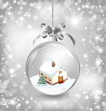 Glass ball Christmas with a little house, snow, Royalty Free Stock Images