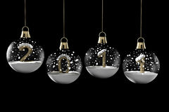 Glass ball Christmas with new year. And snow on a black background Stock Illustration