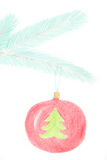 Glass ball drawn. Glass ball hanging on the branch of Christmas tree. Drawing made made with wax crayons Stock Photography
