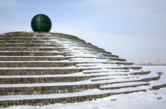 Glass ball on the embankment of Dnepropetrovsk Stock Images