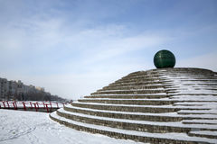 Glass ball on the embankment of Dnepropetrovsk Stock Image