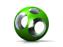 Glass ball and green metal Stock Photography