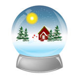 Glass ball with the installation of winter inside Stock Photography