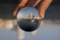 Glass ball. Izmir, Turkey - August 17, 2015: Glass ball and the city. Izmir Alsancak Konak Stock Images