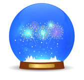 Glass ball with New Year fireworks Royalty Free Stock Photography