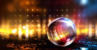 Glass ball, reflection of neon lights, rays, glare. Abstract neon background. royalty free illustration