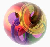 Glass ball with rings within. Glass ball - computer generated image royalty free illustration