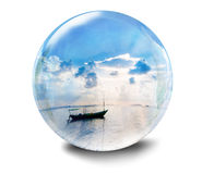 Glass ball with sea Royalty Free Stock Photos