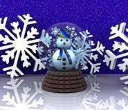 Glass ball with Snowman - 3D. Glass ball with snowman and snowflakes - 3D Stock Photography