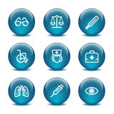 Glass ball web icons, set 13 Royalty Free Stock Images