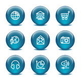 Glass ball web icons, set 5 Royalty Free Stock Photography