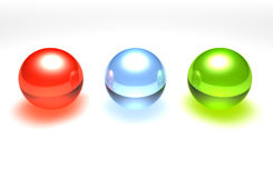 Glass balls. 3 3d glass balls isolated Royalty Free Stock Image