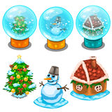 Glass balls, Christmas tree, snowman and house. Set of transparent glass balls, Christmas tree, snowman and gingerbread house. Vector illustration in cartoon Royalty Free Stock Image