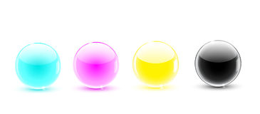 Glass balls CMYK Royalty Free Stock Photography