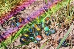 Glass balls on the ground stock photo