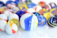 Glass balls. Multicolored glass balls set on white background Stock Image
