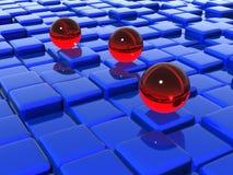 Glass Balls On Cubes Stock Photos