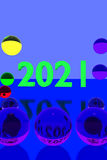 Glass balls on reflective surface and the year 2021 stock illustration