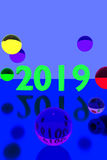 Glass balls on reflective surface and the year 2019. 3D rendering of colorful glass balls on reflective surface and the year 2019 Stock Photo