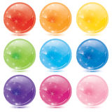 Glass balls. Set of glass balls with stars glowing Stock Images