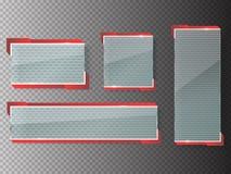 Glass baner på genomskinlig bakgrund kantlagrar låter vara vektorn för oakbandmallen royaltyfri illustrationer