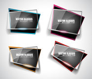 Glass Banner with Abstract Shape and glossy effect Stock Photos