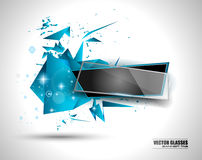 Glass Banner with Abstract Shape and glossy effect Stock Image