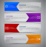 Glass banner with arrow colors. Set glass horizontal web banners with colored arrows on a white background. Vector illustration Stock Image