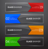 Glass banner with arrow. Set glass horizontal web banners with colored arrows on a black background. Vector illustration Royalty Free Stock Photos