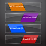 Glass banner with colors ribbon Royalty Free Stock Photo
