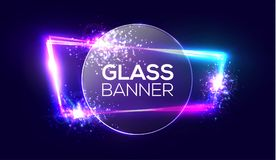 Glass banner on neon light frame with transparent round plate. Glowing sign with flares, explosion and fireworks. Royalty Free Stock Images