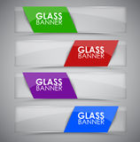 Glass banner with ribbon. Design glass horizontal web banners with colorful ribbons on a white background. Vector illustration. Set Royalty Free Stock Images