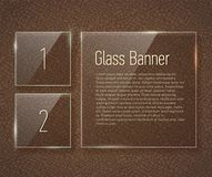 Glass banners on a leather background with translucent Victorian pattern. Stock Photography