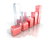 Glass bar financial graphs on white background. 3d render illustration Stock Images