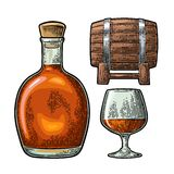 Glass, barrel and bottle of cognac. Vintage engraving illustration Royalty Free Stock Photography