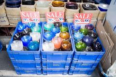 Glass in basket for sale Royalty Free Stock Image