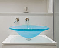 Glass bathroom sink Royalty Free Stock Photos