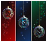 Glass bauble banners. Three elegant glass Christmas bauble banners on bokeh backgrounds Stock Images