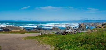 Glass Beach Fort Bragg California Panorama royalty free stock image