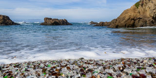 Glass Beach, Fort Bragg California. Colorful glass pebbles blanket this beach in Fort Bragg, California, photo taken mid day to get bright color in the rocks and Royalty Free Stock Photos